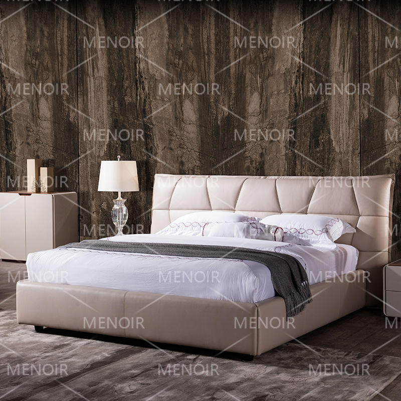 Menoir Italian leather bed with simple design AMF-C05