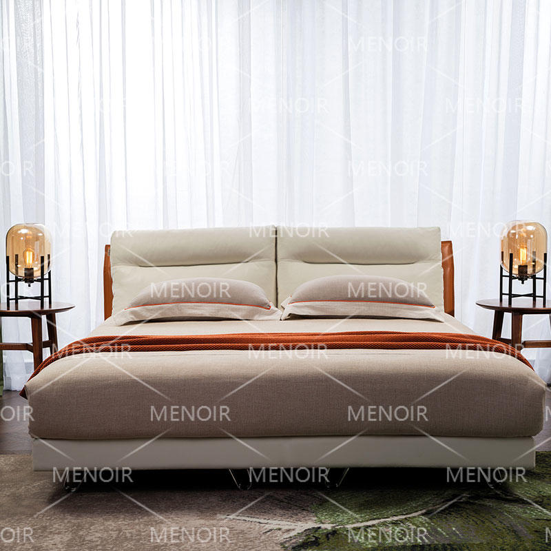 Menoir knocked-down leather bed with metal legs AMF-C08