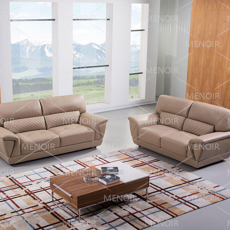 Menoir comfortable high back leather sofa in small solid wood legs,  WA-S287