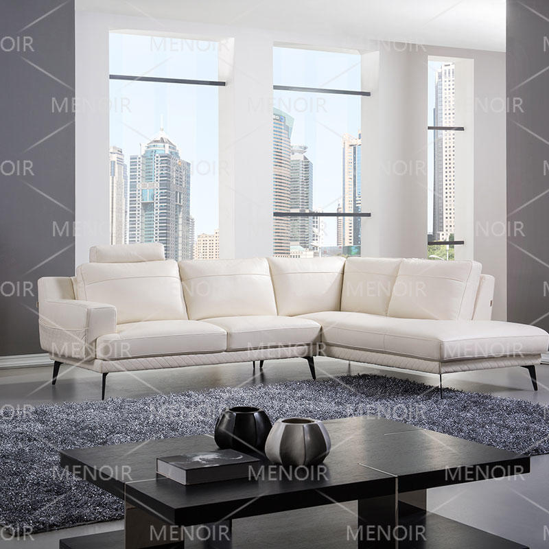 Menoir commercial leather sofa with removable headrest and black color steel feet WA-S290