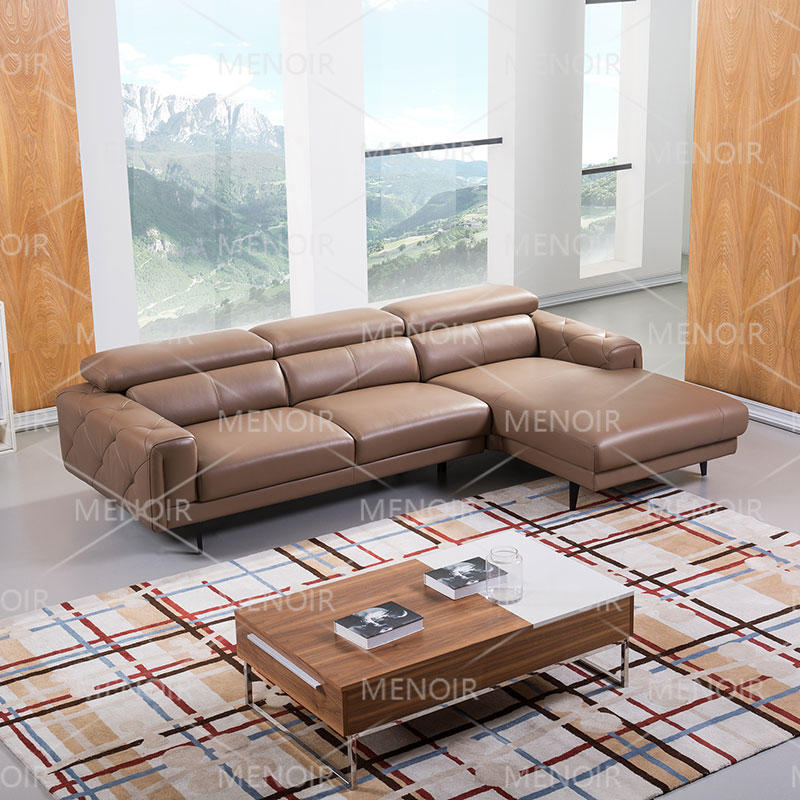 Menoir leather sectional corner sofa in nice design armrest & headrest and steel feet WA-S293