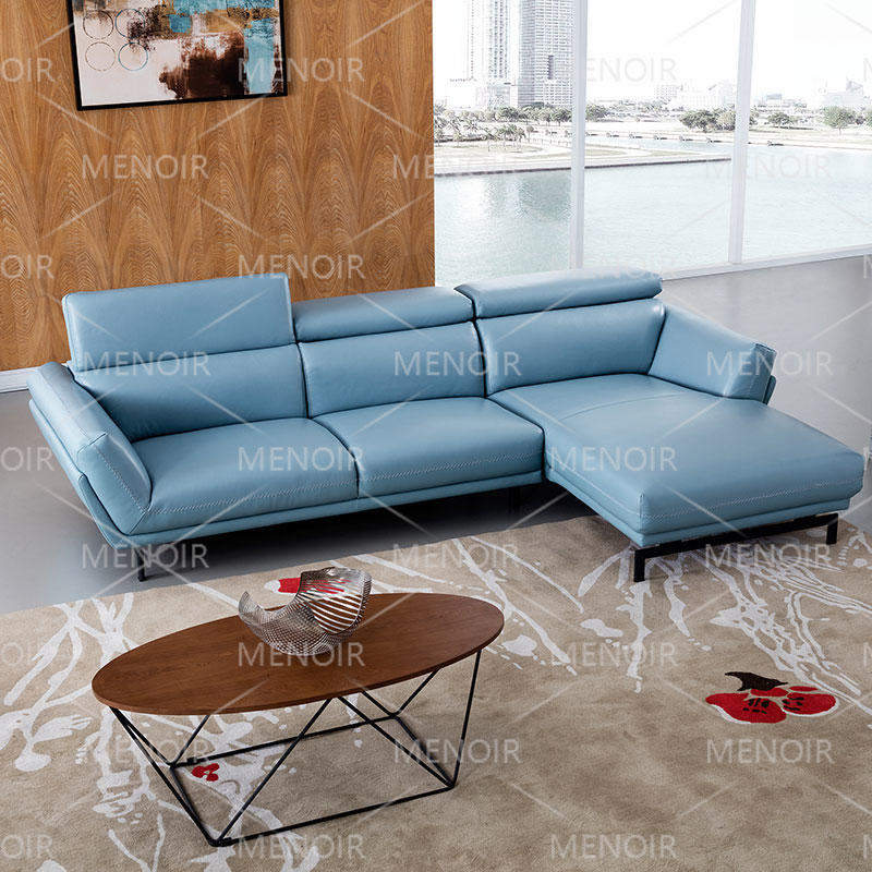 Menoir leather L-shape corner sofa with adjustable headrest and black color steel feet WA-S297