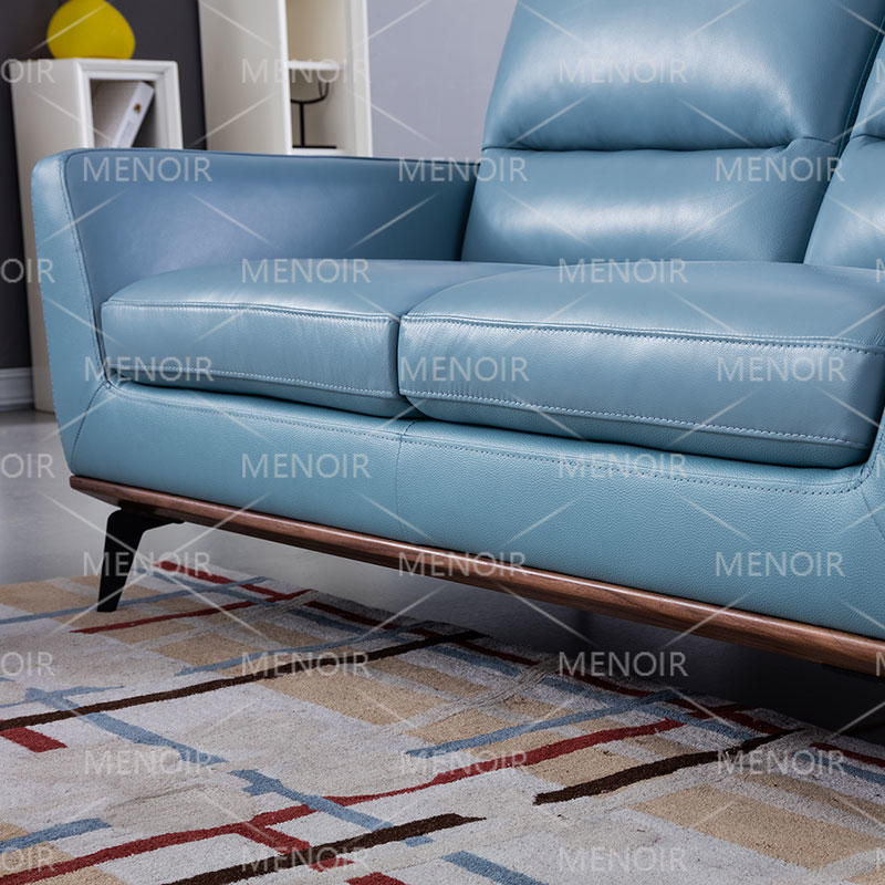 Menoir modern leather sofa with removable  backpad and steel feet WA-S307