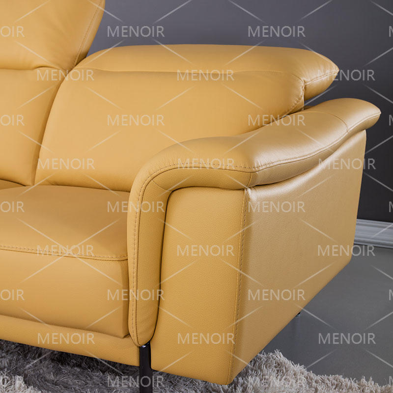 Menoir yellow leather sofa with adjustable headrest and hardware feet WA-S308