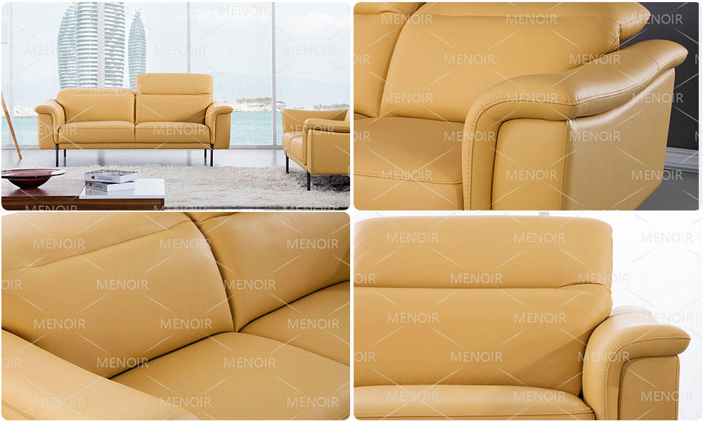 color steel contemporary black leather sofa Zhihao Brand