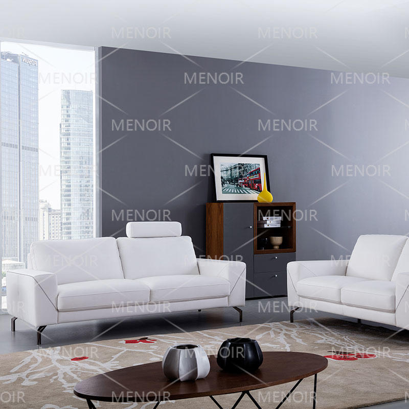 Menoir leather 1+2+3 sofa with headrest and hardware feet WA-S310