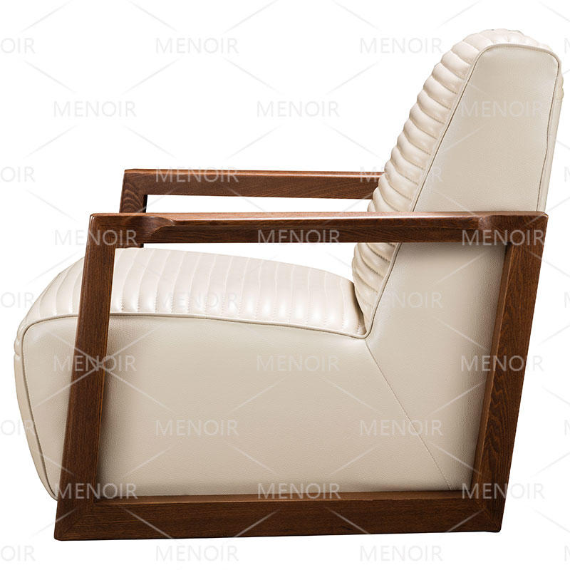 Menoir leather chair with solid wood in light walnut veneer armrest AMF-DY05