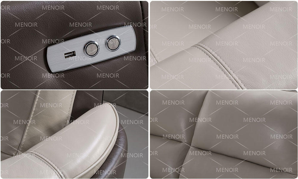 Menoir contemporary leather reclining sofa directly sale for household