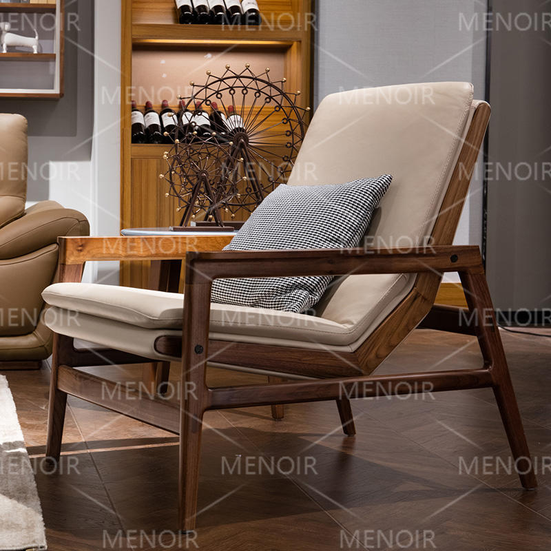 Menoir leisure-style chair with light walnut veneer frame AMF-DY08