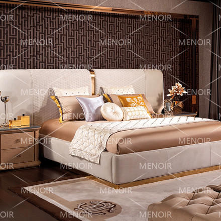 Zhihao durable brown leather king size bed frame simple for home