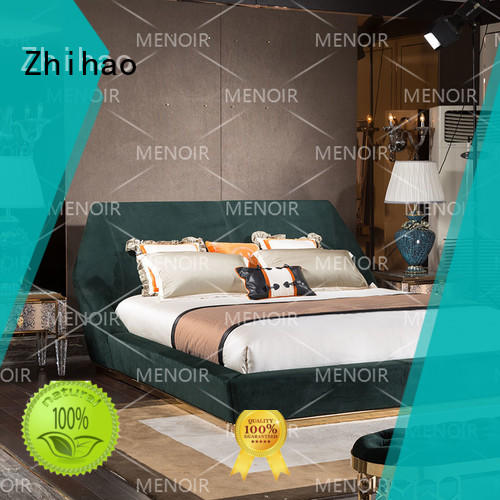 luxury leather double bed directly sale for bedroom