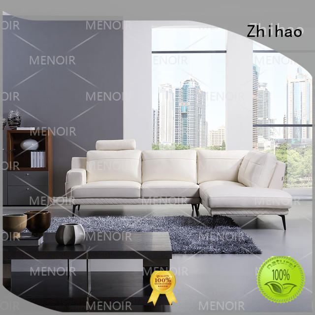 contemporary black leather sofa back leather sectional sofa Zhihao Brand