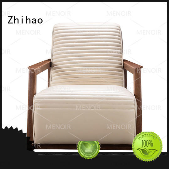 Zhihao certificated brown leather accent chair slim for hotel