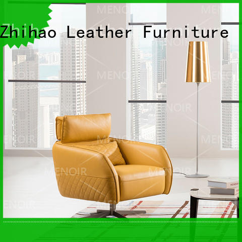 Zhihao certificated leather swivel armchair factory price for bedroom