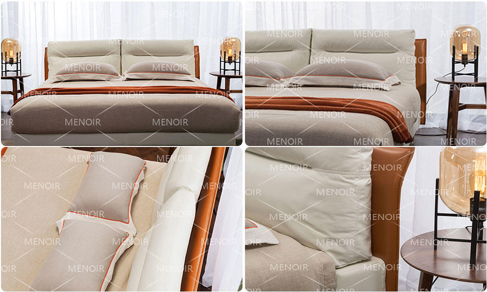 quality leather double bed with good price for promotion-1