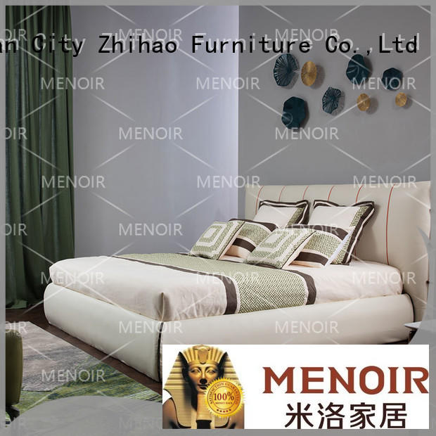 Menoir leather bed frame king directly sale for household