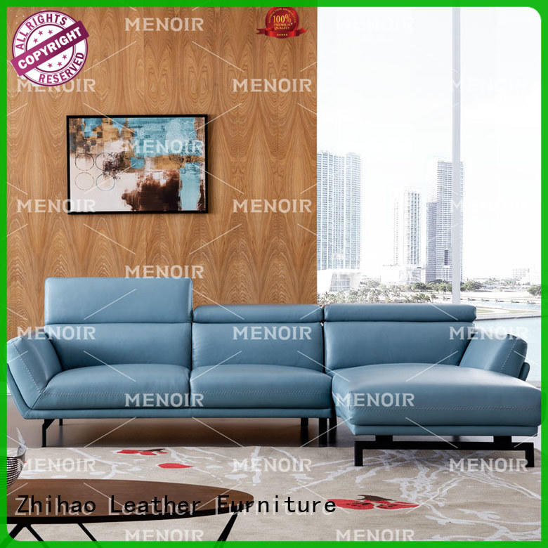 hot selling blue leather sofa factory direct supply for home