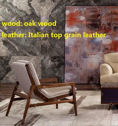 Menoir leisure-style chair with light walnut veneer frame AMF-DY08