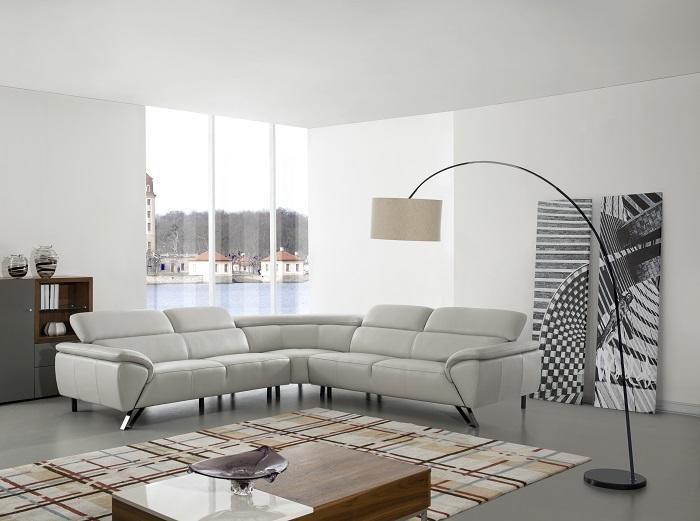 Menoir leather sectional corner sofa in nice design armrest & headrest and steel feet WA-S322