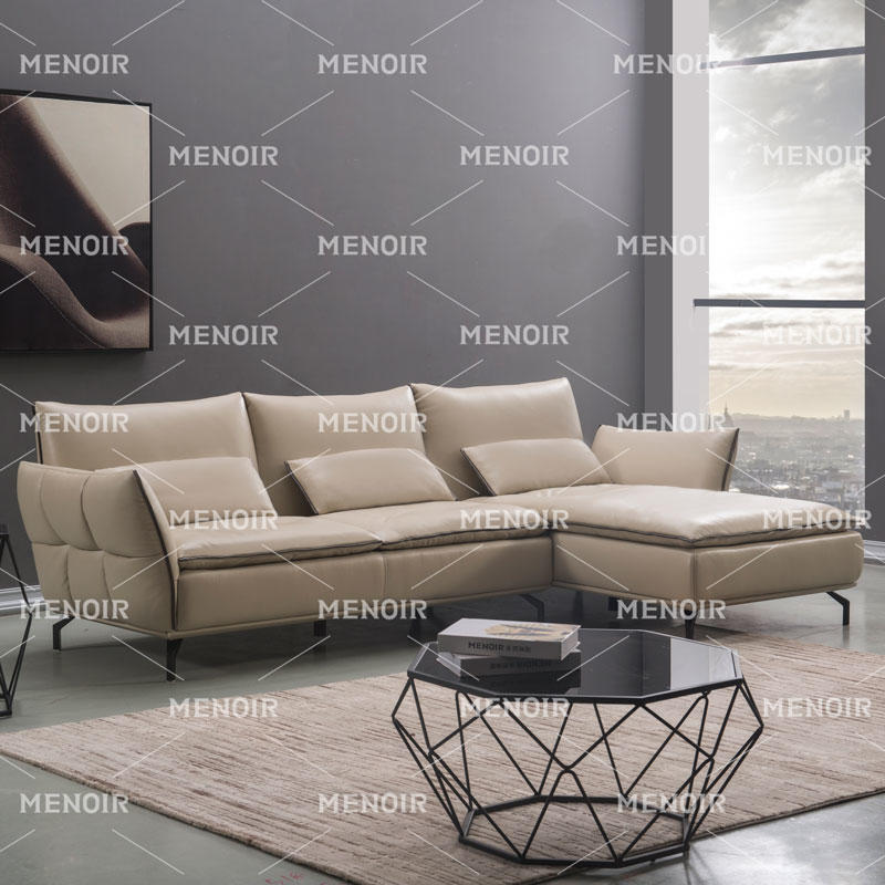 Menoir leather sofa with pillows and high back cushion sofa WA-S332