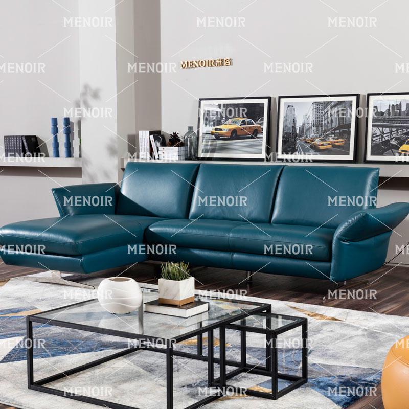 Menoir leather L-shape corner sofa with adjustable armrest and silver color steel feet WA-S329