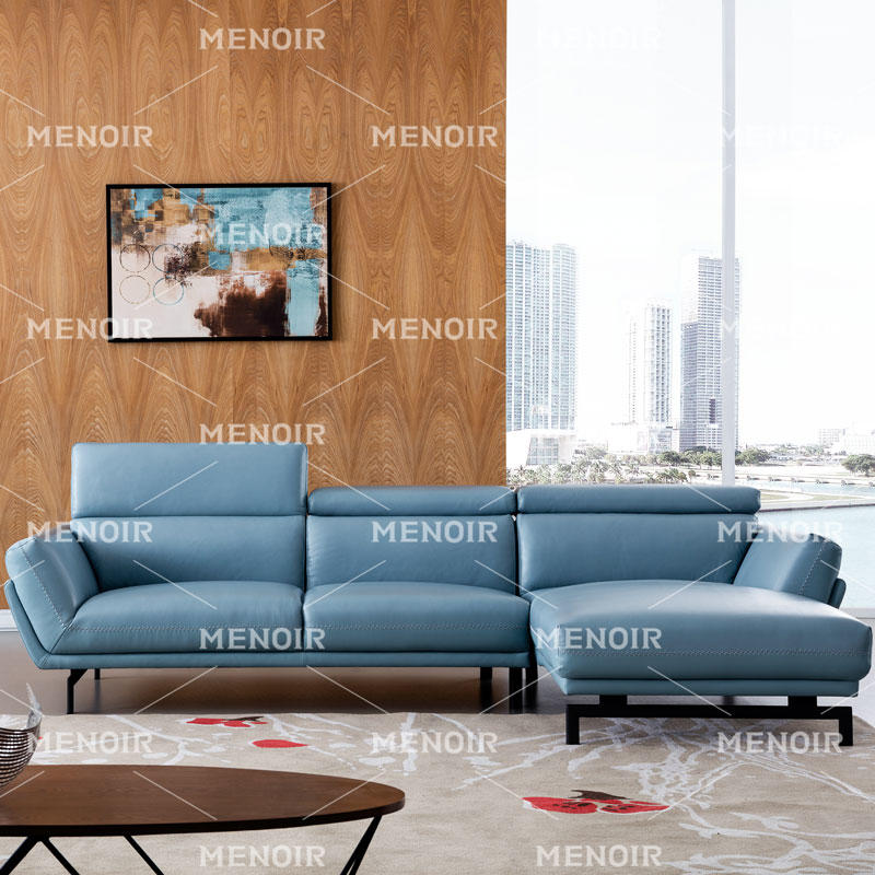 MENOIR SKY BLUE MODERN CORNER LEATHER SOFA WA-S297