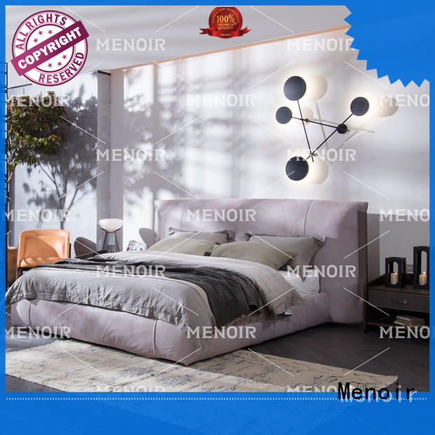 Menoir low-cost brown leather bed supplier for hotel