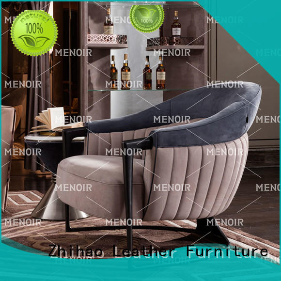 Menoir top selling brown leather accent chair factory direct supply bulk production