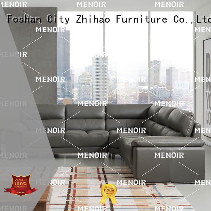 Menoir hot-sale black leather sofa factory direct supply for home