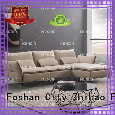 Menoir black leather corner sofa directly sale for home