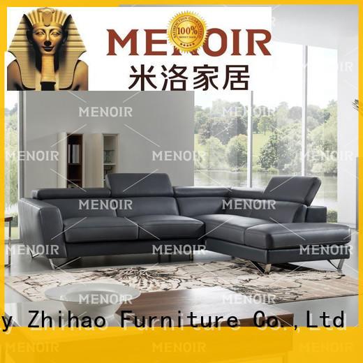 Menoir elegant black leather corner sofa from China for household