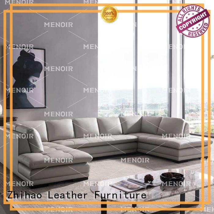 Menoir black leather corner sofa factory bulk buy